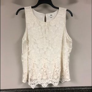 Cato ivory lace overlay top with tank XL